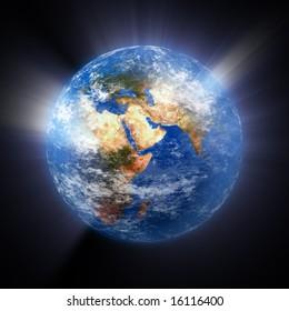earth,globe,light,rays