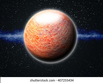 Earth-like Exoplanet with Atmosphere - Abstract Illustration