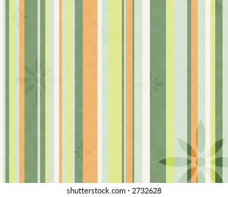 Earthly colored vertical lines with randomly placed flowers. Background Image.