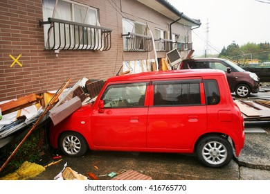 Earthquake caused building collapsed and damage cars in Minami Aso Village, Earthquake strikes Kumamoto prefecture on the 16th April 2016.