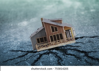 Earthquake crisis house risk insurance concept