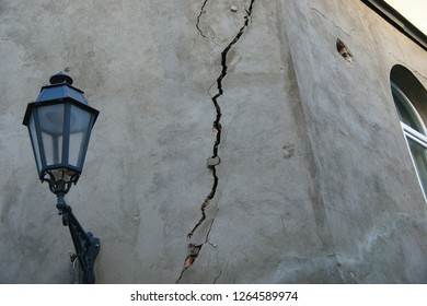 earthquake damage. cracked wall after earthquake