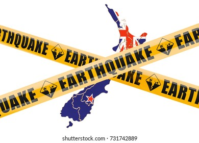 Earthquake in New Zealand concept, 3D rendering isolated on white background