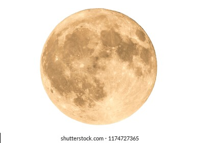Earth's permanent natural satellite - the Moon. High resolution 6 mp image. Isolated on a white background.