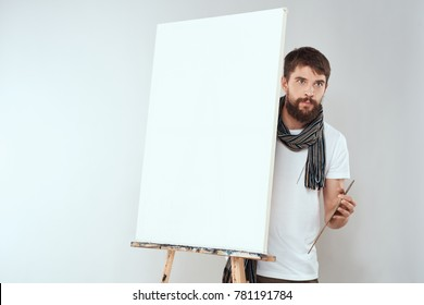 easel with canvas, painter