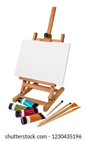 Easel. Ð¡anvas. Paint. Brushes. Place for images, photos, painting. Tools for creativity. Objects on a white background. Isolated image.