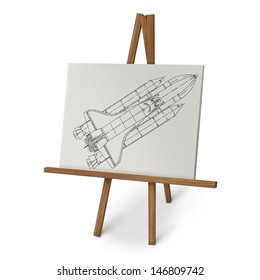 Easel with space shuttle isolated on white background