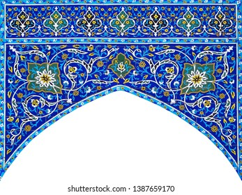 East architectural patterns  colored. Arabic architectural background.Arch.
