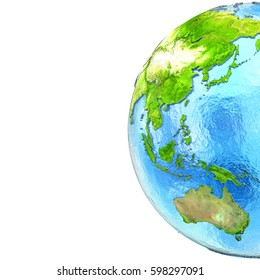 East Asia and Australia on 3D model of planet Earth with watery ocean and visible country borders. 3D illustration. Blank space for your copy on the left. Elements of this image furnished by NASA.