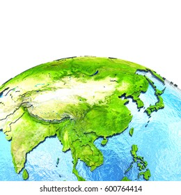 East Asia on 3D model of planet Earth with watery ocean and visible country borders. 3D illustration. Elements of this image furnished by NASA.