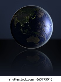 East Asia on dark globe with visible city lights on dark reflective surface. 3D illustration. Elements of this image furnished by NASA.