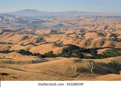 East Bay Area rolling hills and Mt Diablo as seen from Mission Peak summit, during a long drought. Fremont, Alameda County, California, USA,