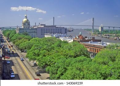 East Bay Street, City Hall and Savannah River, Savannah, Georgia