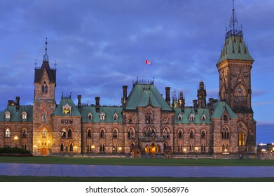 East Block of Parliament in Ottawa at sunset.