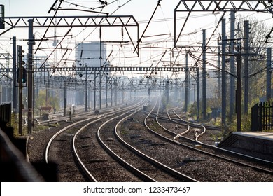The East Coast Mainline just outside London. One of two mainline railways in the UK linking London to Scotland. a