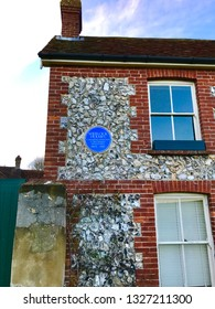 East Dean, East Dean / United Kingdom - February 4 2017: Sherlock Holmes home blue plaque