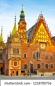 East elevation of Old Town Hall in Market Square at dawn, Wroclaw. Lower Silesia, Poland