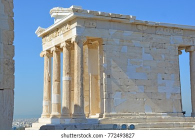 East entrance to the ancient greek temple of Athena Nike or victory on the Acropolis of Athens