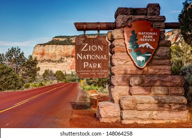 East Entrance Zion National Park Sign Utah