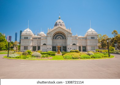 East Facade Entrance of the Royal Exhibition Building, a UNESCO world heritage site in Melbourne, Australia