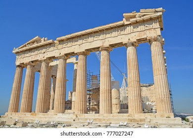 The East Facade of the Parthenon on the Athens Acropolis, Greece. featuring the massive Doric order columns, with restoration underway