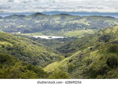 East Foothills of Santa Clara Valley and Grant Lake. Joseph D. Grant County Park, Santa Clara County, California, USA.