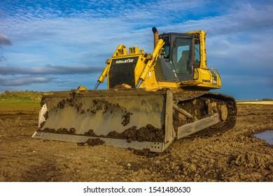 East Fortune, East Lothian / Scotland (UK) - October 24, 2019: Bulldozer at Betony Bridge waste management site.
