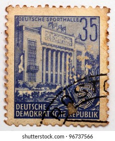 EAST GERMANY - CIRCA 1951: A stamp printed in East Germany shows image of the German Sport Hall, which was demolished in the 1970s, series, circa 1951