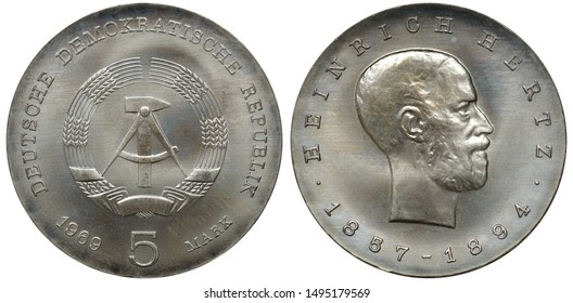 East Germany German silver coin 5 five mark 1969, subject scientist Heinrich Hertz, hammer and compass flanked by grain stalks, head right,