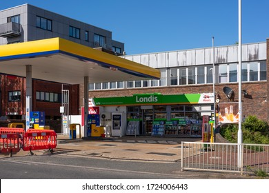 EAST GRINSTEAD, WEST SUSSEX/UK - MAY 5 : Petrol station open during coronavirus pandemic in East Grinstead on May 5, 2020