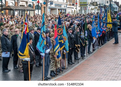 EAST GRINSTEAD WEST SUSSEX/UK - NOVEMBER 13 : Memorial Service on Remembrance Sunday in East Grinstead West Sussex on November 13, 2016. Unidentified people.