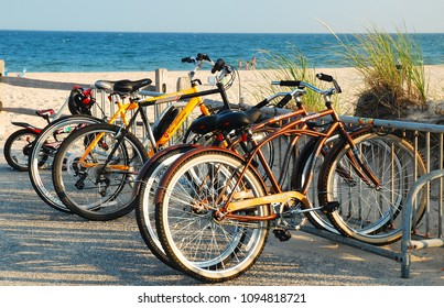 East Hampton, NY, USA July, 27 2010 Bicycles are locked up at the entrance to Main Beach in East Hampton, New York