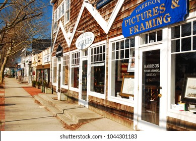 East Hampton, NY, USA March 6, 2010 The boutiques and shops of Main Street in East Hampton, normally bustling during the summer months, are eerily quiet in winter.
