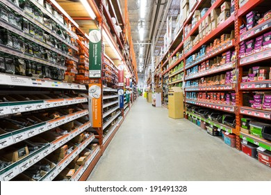 EAST HANOVER, NJ, UNITED STATES - MAY 6, 2014: Aisle in a Home Depot hardware store. The Home Depot is the largest american home improvement retailer with more than 120 million visitors annually