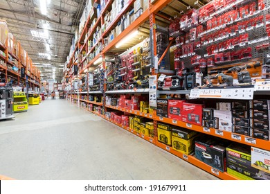 EAST HANOVER, NJ, UNITED STATES - MAY 6, 2014: Power tools aisle in a Home Depot hardware store. The Home Depot is the largest american home improvement retailer with over 120 millions visitors yearly