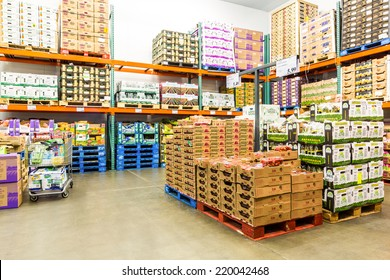 EAST HANOVER, NJ, USA - SEPTEMBER 27, 2104: Fresh Produce refrigerated room in a Costco store. Costco Wholesale Corporation, a membership only warehouse club, is the second largest retailer in USA.