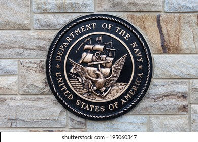 EAST HANOVER, PA - APRIL 5: Bronze plaque for the Department of the Navy at the entrance of Indiantown Gap National Cemetery on April 5, 2014 in East Hanover, PA.