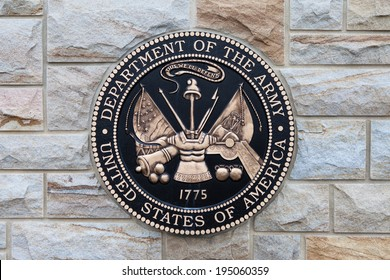 EAST HANOVER, PA - APRIL 5: Bronze plaque for the Department of the Army at the entrance of Indiantown Gap National Cemetery on April 5, 2014 in East Hanover, PA