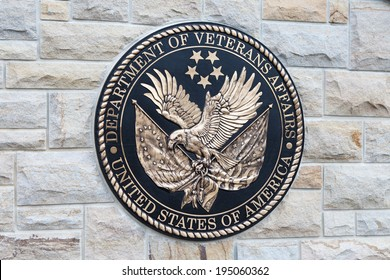 EAST HANOVER, PA - APRIL 5: Bronze plaque for the Department of Veterans Affairs at the entrance of Indiantown Gap National Cemetery on April 5, 2014 in East Hanover, PA.