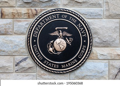 EAST HANOVER, PA - APRIL 5: Bronze plaque for the Marine Corps at the entrance of Indiantown Gap National Cemetery on April 5, 2014 in East Hanover, PA.