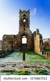 East Harlsey, North Yorkshire,  Nov 30, 2019:UK, Ruins of Mount Grace Priory in winter, North Yorkshire