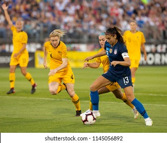 East Hartford, CT - July 29, 2018: Alex Morgan (13) of USA controls ball during Tournament of Nations game against Australia at Pratt & Whitney stadium