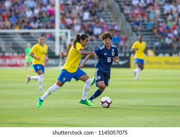 East Hartford, CT - July 29, 2018: Marta (10) of Brazil controls ball during Tournament of Nations game against Japan at Pratt & Whitney stadium