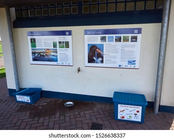 East Haven, Scotland - 28th April 2018: East Haven Toilet Block with Information signs and also a Visitor Friendly Dog Toy box and a Lost and Found Box beside the Public Toilets.
