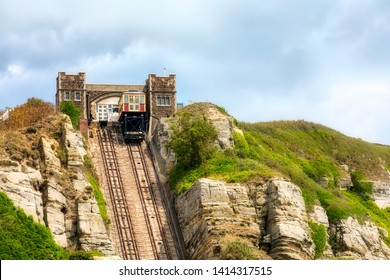 East Hill Lift Upper Station of the East Hill Cliff Railway Funicular in Hastings, England, with a Cable Car Docking