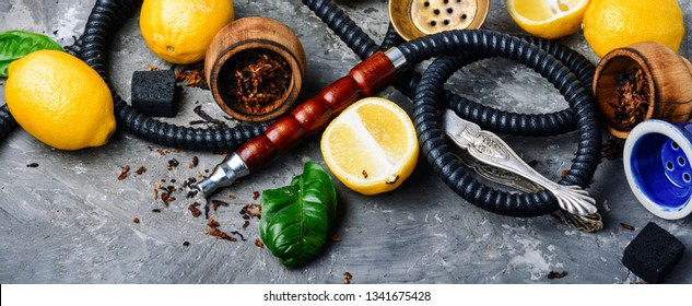 East hookah with fruit aroma for relax.Shisha hookah.Hookah with lemon