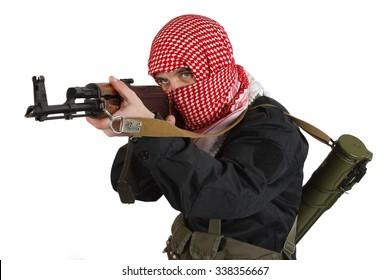 East Islamic rebel with kalashnikov gun isolated on white