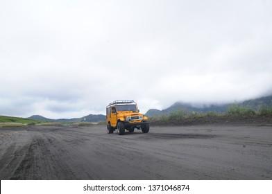EAST JAVA,INDONESIA - JAN 19: tourist jeep at mount Bromo East Java, Indonesia