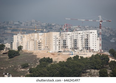 EAST JERUSALEM - DECEMBER 28: Building continues in the Israeli settlement Har Homa, December 28, 2016. All Israeli settlements in occupied Palestinian territory are illegal under international law.