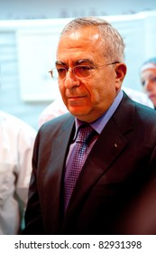 EAST JERUSALEM, OCCUPIED PALESTINIAN TERRITORIES - JULY 20: Prime Minister Salam Fayyad of the Palestinian Authority attends the opening of the Yabous Cultural Center in East Jerusalem on July 20, 2011.